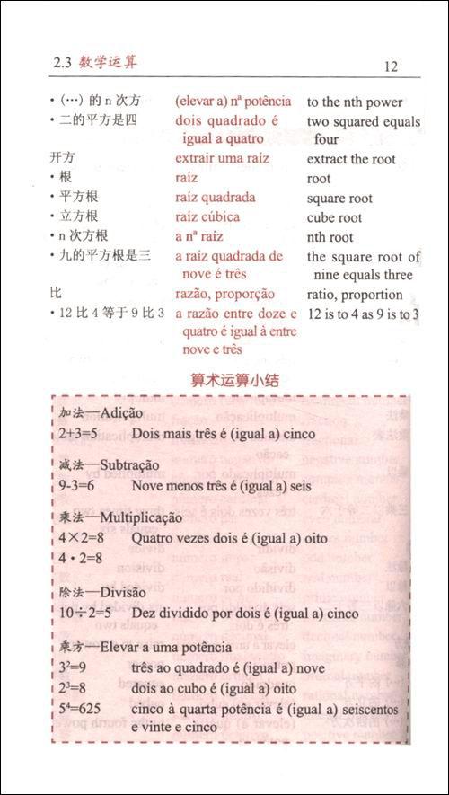 葡萄牙语词汇分类学习小词典