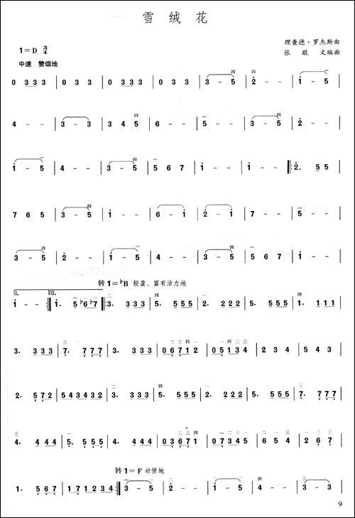 新疆民歌的萨克斯谱子《绒花》