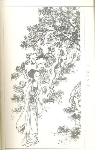 古代美女琵琶手绘图
