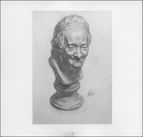 伏尔泰石膏像素描》