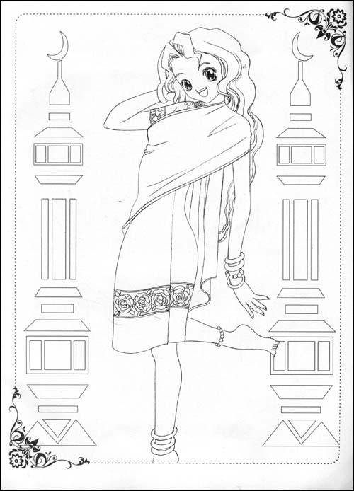 《美少女画画填色书-世界精品时装秀(附赠品)》