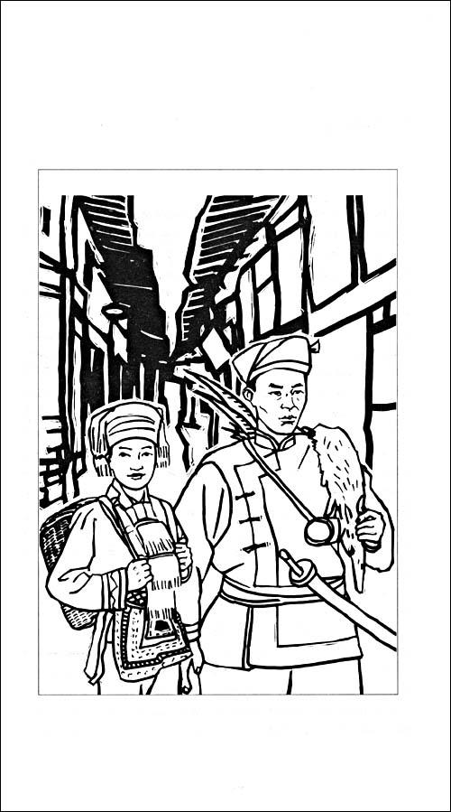 民国伞面手绘插画