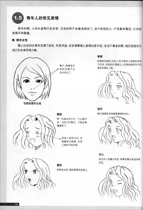 超级动漫图书表情:漫画短发篇/C.C素描社-技法动作耳侧编发头发固定图片