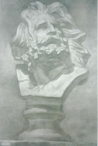 《多因素绘画训练课题研究:多角度素描石膏像》 王岩