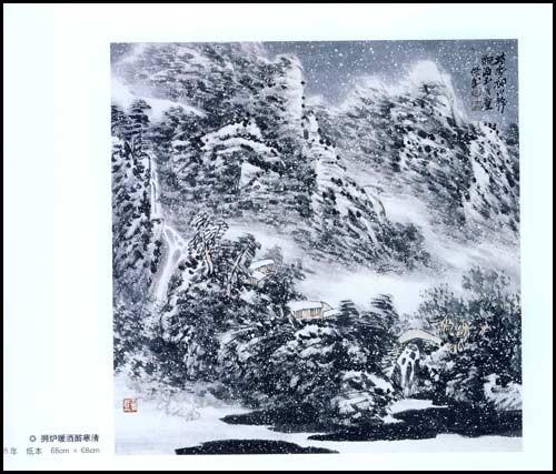 古风楼台手绘水墨画