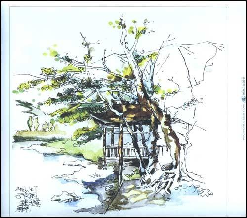 彩铅手绘风景古镇