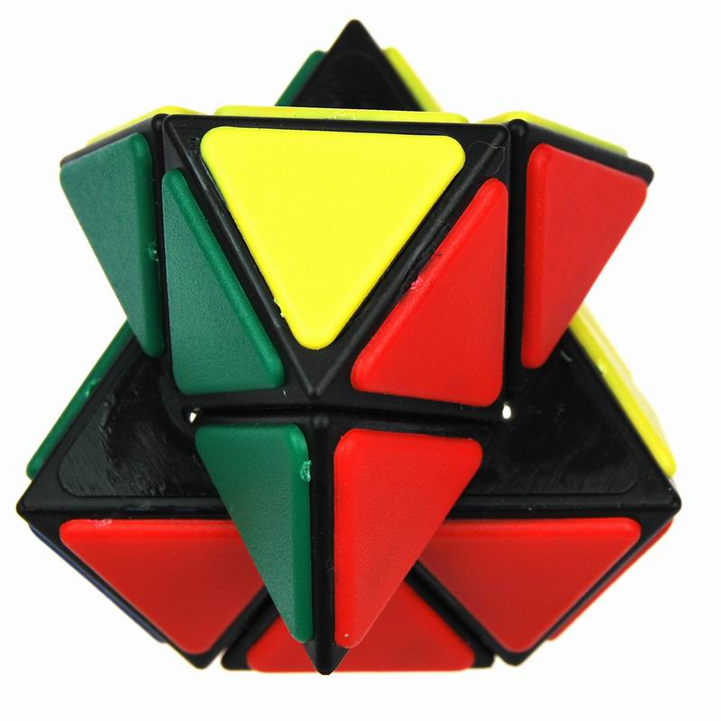 qj奇积 新品六钻魔方 精装版 三角形金字塔异形魔方 贴片黑底 带弹珠