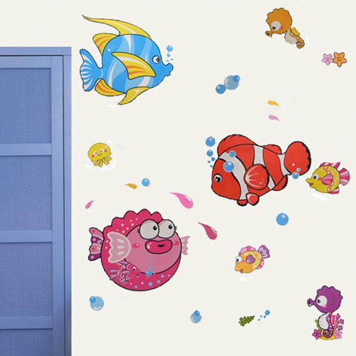 幼儿园装饰组合贴画图*墙贴壁纸*海底世界 热带  鱼  亲嘴鱼 泡泡 鱼