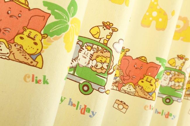 灿烂童趣 帆布印花窗帘 动物乐园 幅宽1.45米二片装