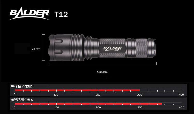 balder博德t12户外防水型三档led强光手电筒套装