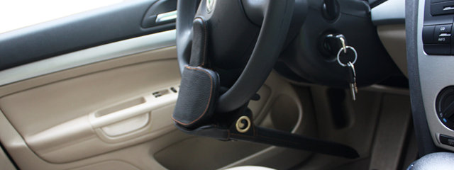 钜甲锁汽车方向盘一体式防锯防盗锁gh-65(黑色)