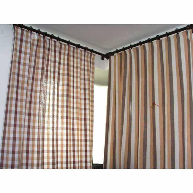 纯恋田园风格全棉粗布窗帘咖啡大方格窗帘1片1.5*2.4米
