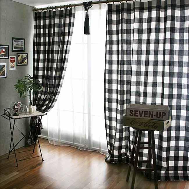 纯恋宜家格子风全棉加厚落地窗帘黑白方格一对装