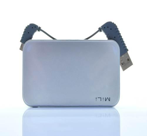 ...tar HB M60 2000mAh智能手机移动电源 内置线设计 简约时尚 银色