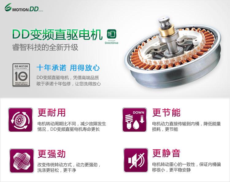 dd变频电机_lg wd-n12426d 6公斤dd变频滚筒洗衣机 (奢华银)