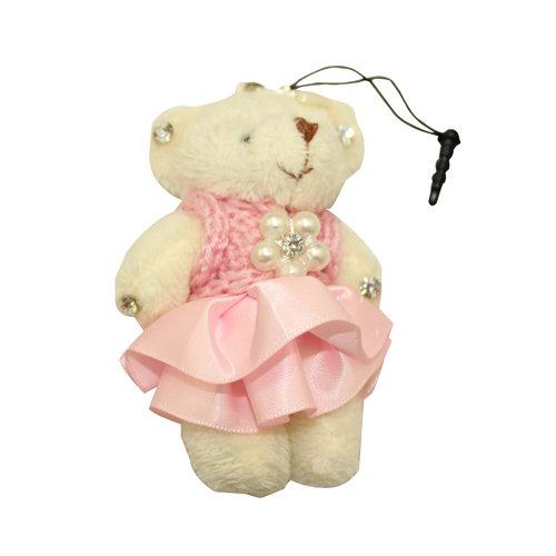 产品描述 乾甲天 小熊毛线裙手机挂绳(粉色) 产品说明:韩版可爱小熊
