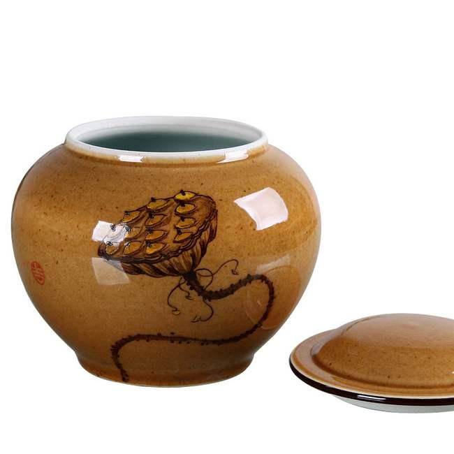 瑞恒逸品影青釉莲蓬紫金釉茶叶罐 700ml 手绘图案 古朴典雅