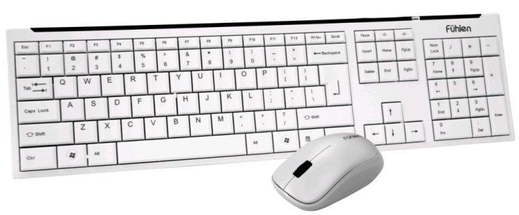 节能无线键盘鼠标套装 象牙白 (超细微迷你接收器,键盘超静音按键设计