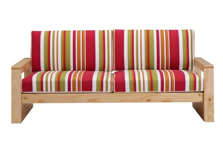 三人松木沙发/木架布艺沙发