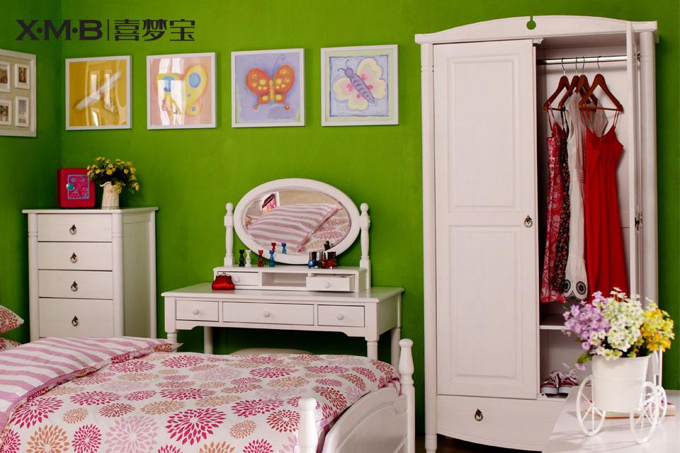 b 喜梦宝实木家具 欧式双门松木衣柜/2门单抽屉实木衣柜 白色bd58016