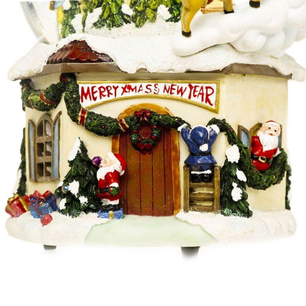 wsa万山 圣诞老人与房子 声控炫彩灯光旋转水晶球音乐盒ws09148