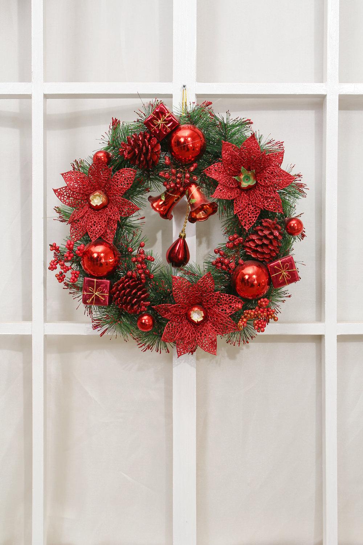 祥德福 北欧风情 高档松果装饰圣诞花环(红色)
