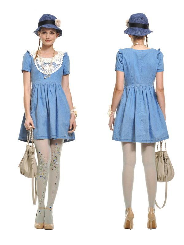 牛仔蓝色花边连衣裙牛仔裙